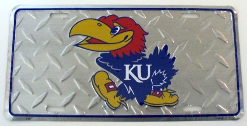 Kansas Jayhawks Diamond License Plate Tin Sign 6 x 12 inches - Kansas License Plate