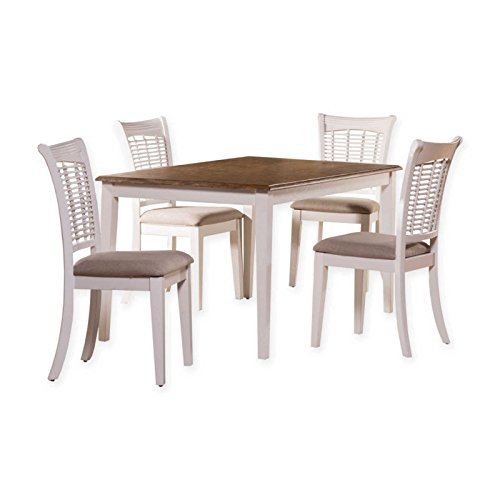 5-Piece Rectangular Dining Set in White