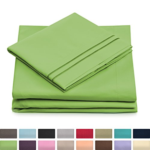 Queen Size Bed Sheets - Lime Green Luxury Sheet Set - Deep Pocket - Super Soft Hotel Bedding - Cool & Wrinkle Free - 1 Fitted, 1 Flat, 2 Pillow Cases - Light Green Queen Sheets - 4 Piece Lime Green Sheet Set
