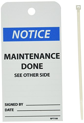NMC RPT108 NOTICE - MAINTENANCE DONE Accident Prevention Tag, Unrippable Vinyl, 3'' Length, 6'' Height, Black/Blue on White (Pack of 25) by NMC