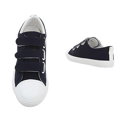 Ital-Design Freizeit Turnschuhe/Sneakers Kinderschuhe Freizeit Turnschuhe/Sneakers Jungen Klettverschluss Freizeitschuhe Dunkelblau
