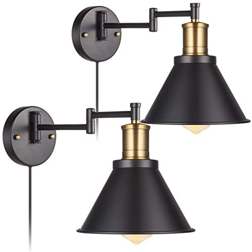 2 Lights Industrial Wall Sconce with ON/Off Switch, Edison Vintage Style Swing Arm Wall Lamp Bronze Head,Black Lampshade, Plug-in-Play/Hardwire, Lobby, Hallway, Kitchen, Dining Room, Restaurant, Café