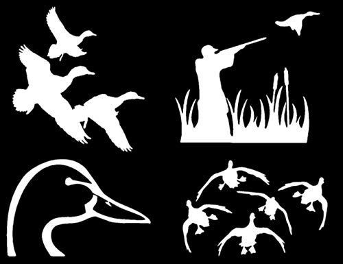 Duck Hunting Decals: Flying, Landing, Shooting, Looking (Duck_Flying_Landing_White)
