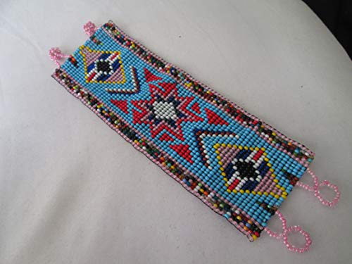flat bracelet turquoise red multi color star geometric aztec hand loom beaded southwest native american design fair trade beadwork seed beads Boho direct trade glass seed beads ethnic handmade