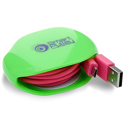 (Smart Pulley Automatic Cable Winder For USB Cables| Retractable Cable Organizer |Portable Cord Winder Small No More Tangled Cords - Size (Small, Green))