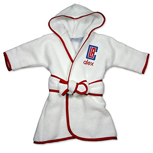 Personalized Los Angeles Clippers Baby Hooded Bath Robe (Officially Licensed) Ultra Plush, Absorbent Comfort | Fits Infants, Babies, Toddlers | Naturally Hypoallergenic ()