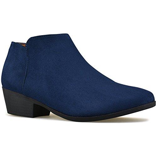 Premier Standard Women's Round Toe Faux Suede Stacked Heel Western Ankle Bootie Navy Blue B*