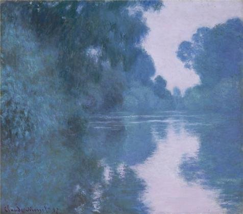 'Arm Of The Seine Near Giverny, 1897 By Claude Monet' Oil Painting, 18x20 Inch / 46x52 Cm ,printed On High Quality Polyster Canvas ,this High Definition Art Decorative Canvas Prints Is Perfectly Suitalbe For Laundry Room Decor And Home Decoration And Gifts