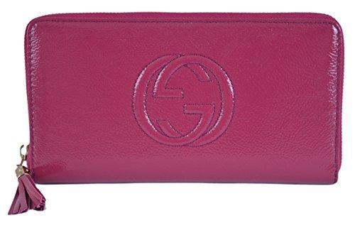 Gucci Women's Soho Vernice Blue Patent Leather Zip Around...