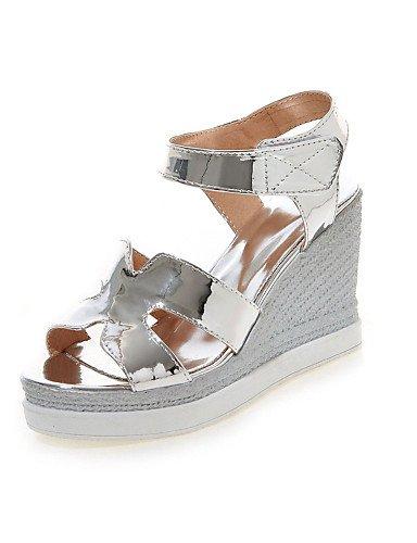 LFNLYX Zapatos de mujer-Tacón Cuña-Cuñas / Talón Descubierto / Punta Abierta-Sandalias-Vestido-Semicuero / Cuero Patentado-Rosa / Plata / Oro golden