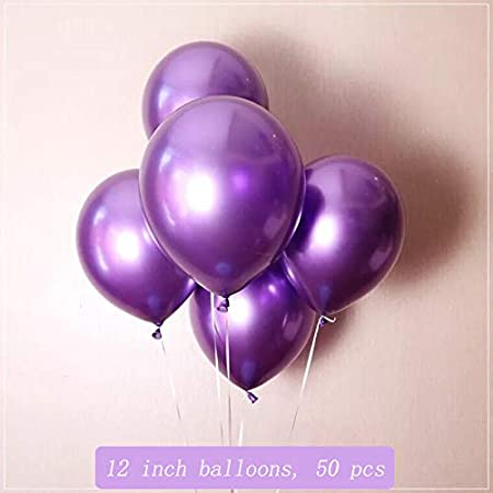 Baby Shower 12 inch 50 pcs PartyMart Multicolor Metallic Latex Balloons for Anniversary Birthday Party Decoration Wedding