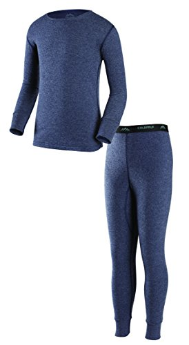 ColdPruf Youth Basic Dual Layer Long Sleeve Base Layer Crew Neck Top and Bottom Set, Navy, Medium