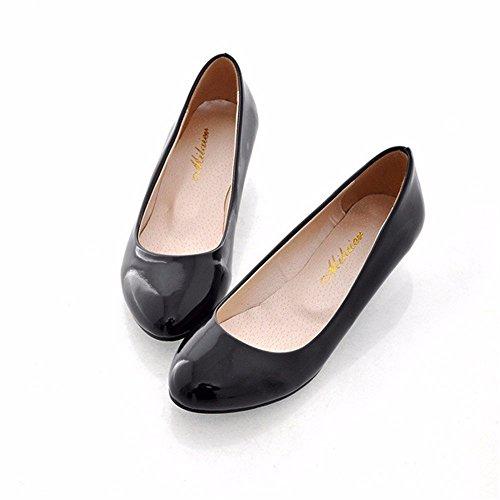 RFF-Women's Shoes Damen Pumps/Geschlossene Ballerinas/Riemchenpumps/Einzelne Mädchen Schuhe Flache Mund Candy Farbe mit Den Casual Schuhe aus Leder Frauen Kopf Niedrig black