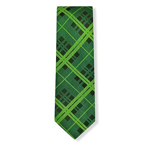 Mens Green Plaids Tie Jacquard Self Tartan Woven Neckties for Celebrate   by DEVEMNU HOMME