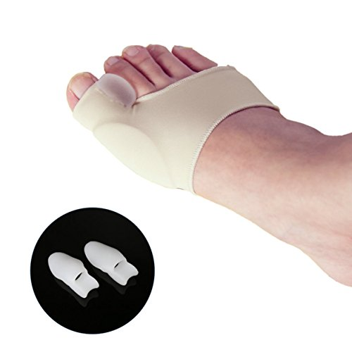 LEWONDE Gel Pad Bunion Corrector Splints Protector Sleeves 2 Booties with Big Toe Straightner Separator Spacer for Hallux Valgus Pain Relief Wear with Casual Shoes-1 Pair