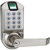 Ardwolf A1 No Drills Needed Keyless Keypad Biometric Fingerprint Door Lock, Unlock with Fingerprint Key Password - Satin Nickel