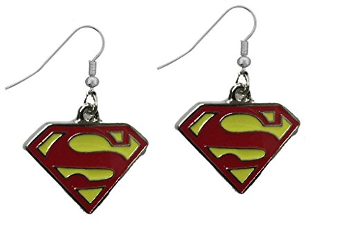 DC+Comics Products : DC Comics Superman Shield Yellow and Red Color Dangle Earrings w/Gift Box