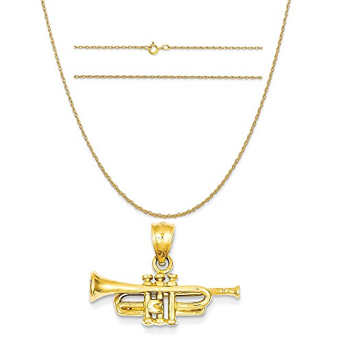 14k Yellow Gold Trumpet Pendant on a 14K Yellow Gold Carded Rope Chain Necklace, 16
