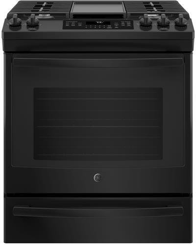 GE 30 Inch Slide-in Gas Range with Sealed Burner Cooktop, 5.6 cu. ft. Primary Oven Capacity, in Black ()