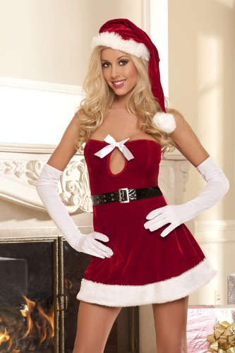 Seven Til Midnight Women's Jingle All The Way Santa,Red,Large (Naughty Santa Helper Outfits)