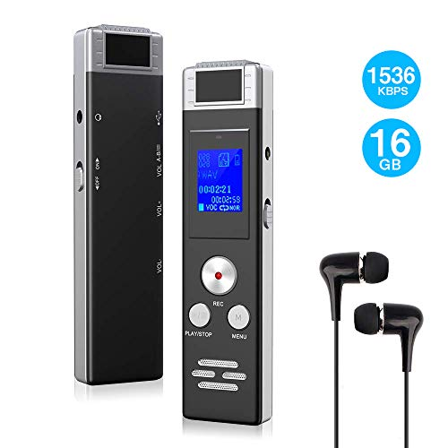 Digital Voice Recorder 16GB Voice Activated Recorder with USB Cable, MP3 Player and Earphone, HD Portable Dictaphone 1536kbps for -