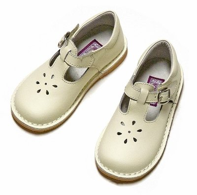 LAmour Kids Girls Leather t-Strap Shoes in Cream Ivory