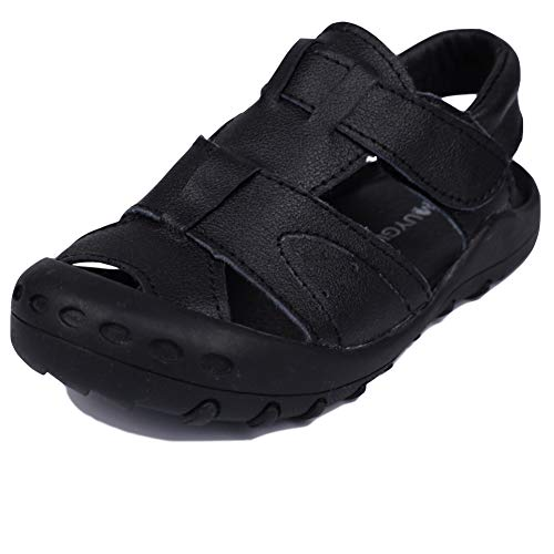 MuyGuay Toddler Boys Sandals Closed Toe Sandals for Kids Baby Boys Genuine Leather Summer Shoes with Non-Slip Rubber Sole (11 M US Little Kid, Black)