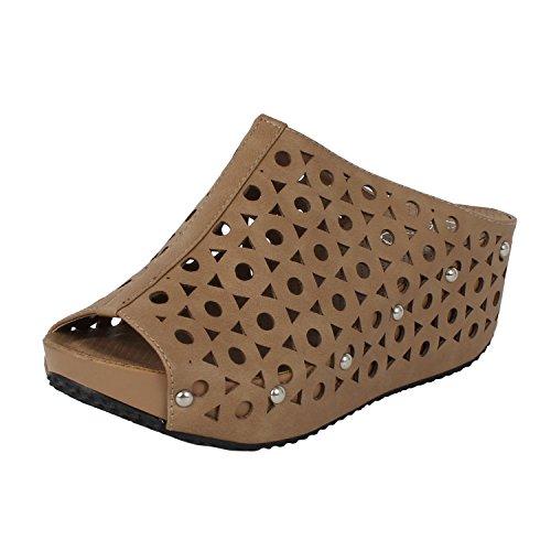 (Refresh ELVA-07 Women's Slip On Stud Platform Cut Out Wedge Mule Sandals, Color:Taupe)