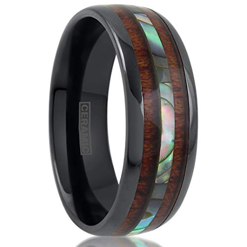 King's Cross Beautiful Hi-Tech 8mm Gunmetal Black Ceramic Low Dome Band Ring w/Brilliant Abalone Shell & Koa Wood Inlays. (10)