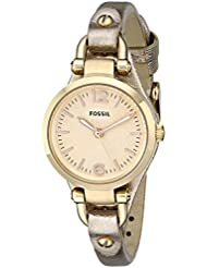 Fossil Georgia Three-Hand Leather Watch - Metallic Gold Es3426