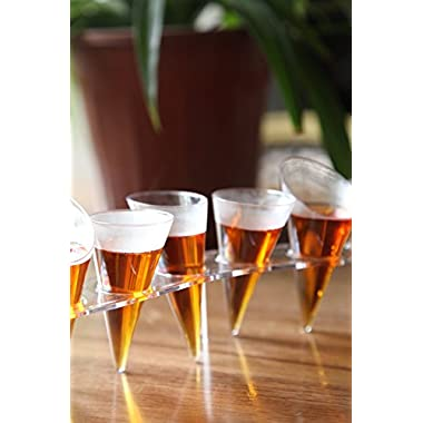 Sampler Glasses For Beer or Cocktails- or Dessert Cups Hard Clear Tall 2oz with Stabilizing Stand -10pcs