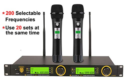 (PRORECK UK-2000 UHF 2 Channel Wireless Microphone System with Two Handheld Microphone with FCC Certification, Perfect for Party/Wedding/Church/Conference/Speech, 200 Selectable Frequencies)