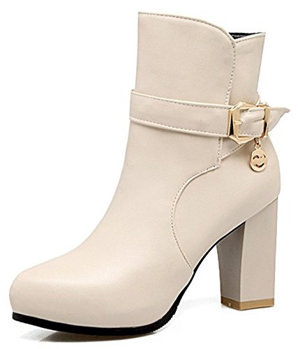 IDIFU Womens Sexy Pointed Toe Pull On Buckle Short Ankle High Booties With Chunky Heels Beige 0of1iC