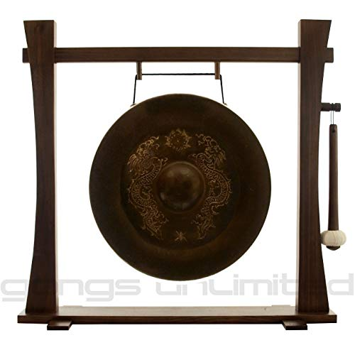 Vietnamese Dragon Gongs on Stands -