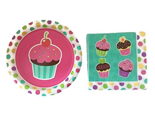 Cupcake Party - Girls Birthday Party Plates Set - Cupcake Luncheon Napkins - 10 Plates (Flatware Sets Walmart)
