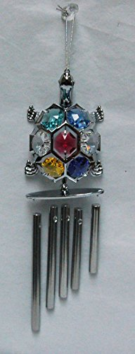 Chrome Plated Turtle Wind Chime with Mixed Swarovski Element Crystals (Turtle Rhodium)