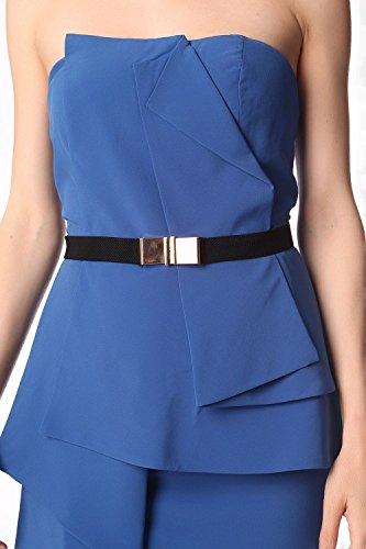 Q2 Mujer Minivestido palabra de honor azul electrico con detalle de sobrefalda y cinturon