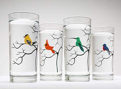 Bird Lover 16 oz Glassware Set of 4 Highball Glasses - Cardinal, Hummingbird, Bluebird, Finch Glass