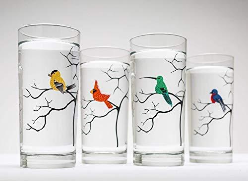 Bird Lover 16 oz Glassware Set of 4 Highball Glasses - Cardinal, Hummingbird, Bluebird, Finch Glass