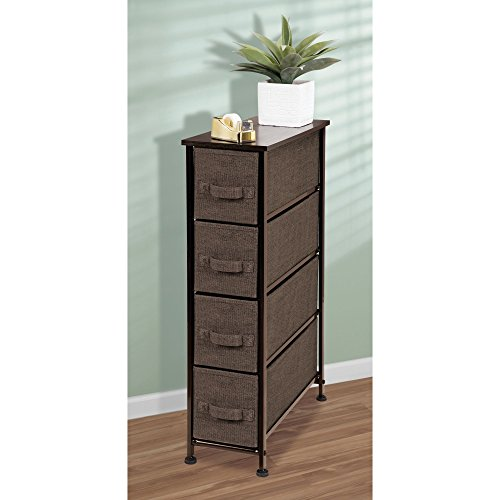 mDesign Fabric Narrow 4-Drawer Dresser and Storage Organizer Unit for Bedroom, Dorm Room, Laundry Room - Espresso