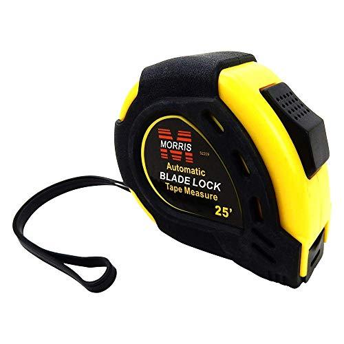 25' Tape Measure, Double Sided, Auto Blade Lock, Yellow & Black, Morris #52209.