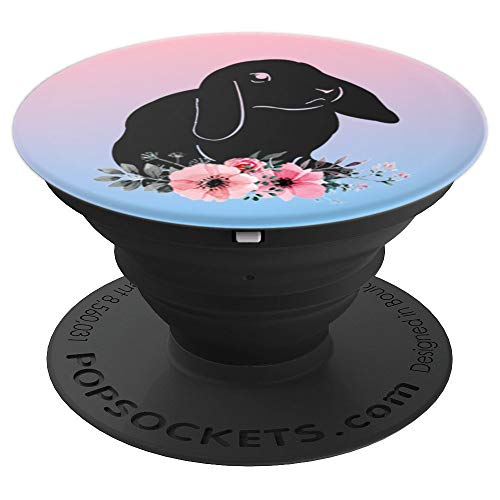 Pink Blue Sky Lop Bunny Baby Lop Eared Rabbit Floral Purple - PopSockets Grip and Stand for Phones and Tablets