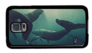 Hipster Samsung Galaxy S5 Case top cases whales divers art PC Black for Samsung S5