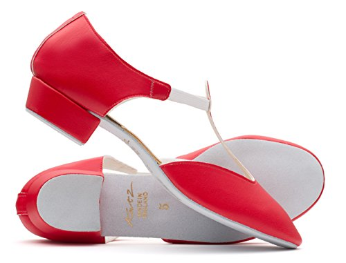 Katz Dancewear Ladies Girls All Colours Glitter Leather Dance Greek Sandal Teaching Jive Salsa Ballroom Cerco Shoe By Red PU Qu55vRW