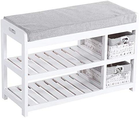 Modern Bench Shoe Storage,Shoe Bench Cabinet Rack,Compact Rustic Padded Wooden Shoe Rack Bench Organizer