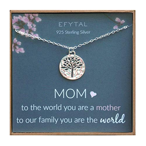 EFYTAL Mother's Day Gift Ideas, Sterling Silver Tree of Life Necklace For Her, Birthday Gifts for Mom -