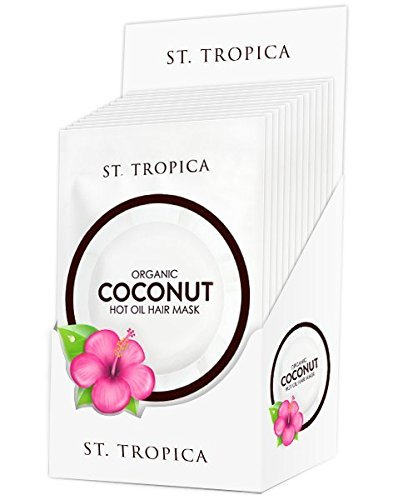 ST. TROPICA Coconut Oil Hair Mask Treatment for Dry or Damaged Hair - Split Ends & Frizzy Hair Repair, Deep Conditions and Promotes Hair Growth - VEGAN - (1.5oz) 12- Pack (Homemade Hair Mask For Curly Frizzy Hair)