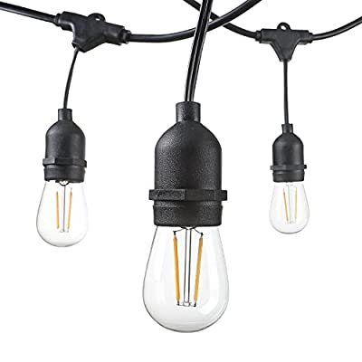 Worbest 48 Foot Weatherproof Outdoor String Lights S14 LED Bulbs Included Perfect Patio Lights & Party Lights-Black UL Listed