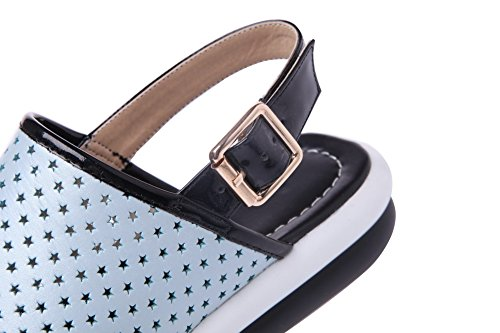 Amoonyfashion Donna Materiale Morbido Fibbia Open Toe Tacchi Sandali Bassi Blu