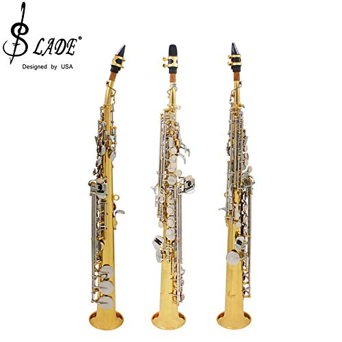 (Slade Soprano Saxophone B Flat Tune Professional Sax Soprano with Bag Cleaning Tool Parts)